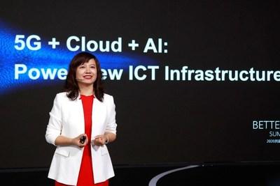 Jacqueline Shi, presidenta del Departamento Internacional de Negocios de IA y Nube de Huawei, pronunció un discurso en BWS2020.