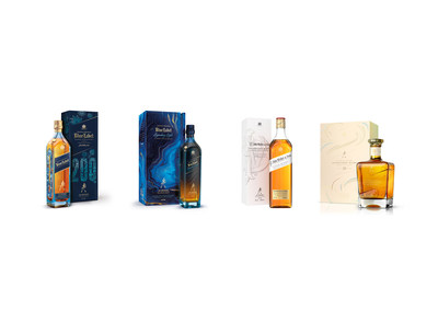 The whiskies pictured are: Johnnie Walker Blue Label 200th Anniversary Limited Edition Design, Johnnie Walker Blue Label Legendary Eight, John Walker & Sons Celebratory Blend, John Walker & Sons Bicentenary Blend