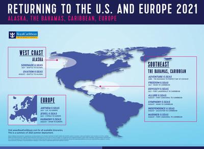 Regreso a los Estados Unidos y Europa en 2021 (PRNewsfoto/Royal Caribbean International)