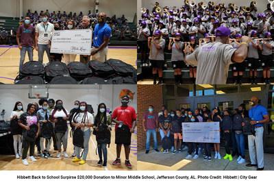 Hibbett Donates $20,000 to Minor Middle School, Adamsville, Alabama to Kick Off New School Year. Photo Credit: Hibbett