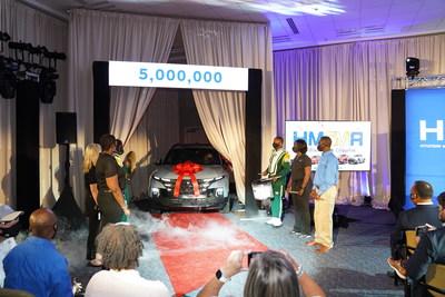 Hyundai Motor Manufacturing Alabama celebrates the 5 millionth vehicle built, a Santa Cruz, at Hyundai's U.S. assembly plant in Montgomery, Ala., Thursday, Aug. 12, 2021